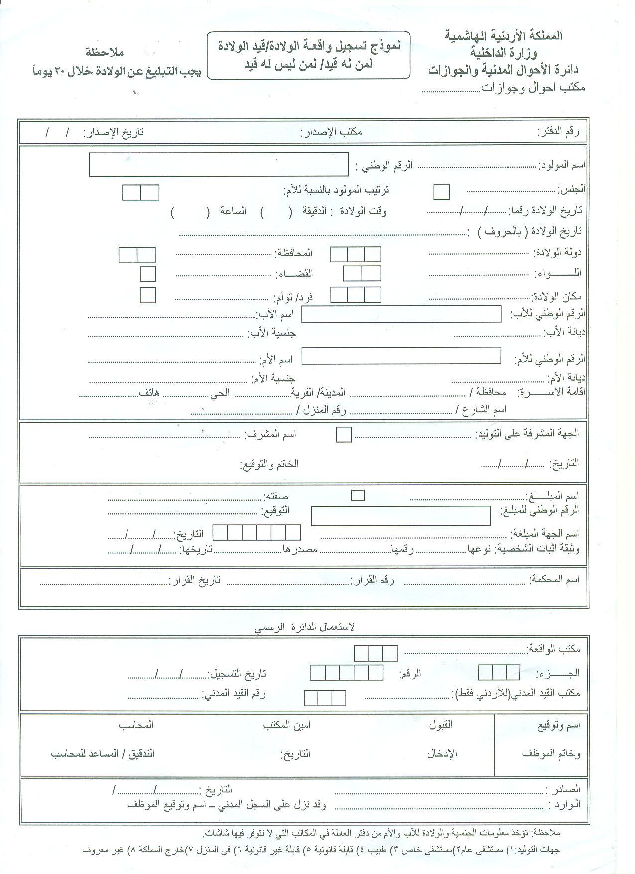 تسجيل واقعة ولادة واصدار شهادة ولادة
